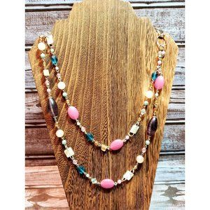 Cookie Lee Layered Pink Blue Silver Necklace
